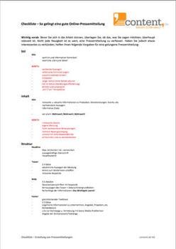Checkliste für Pressemitteilungen