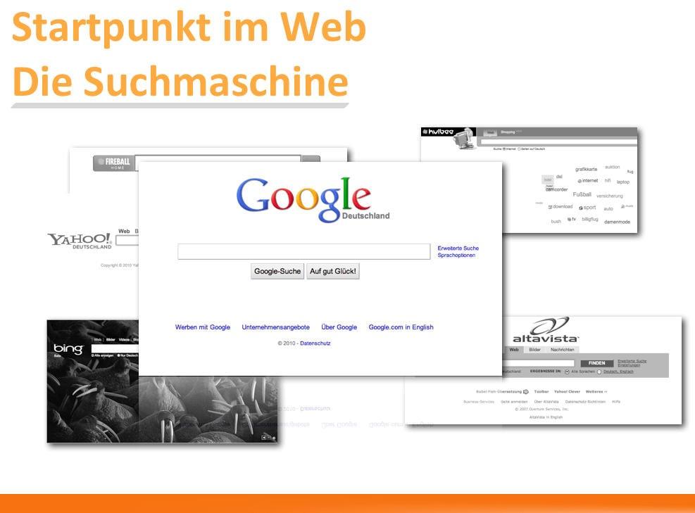 Die Suchmaschinen sind für Internet-User der Startpunkt einer Internet-Recherche