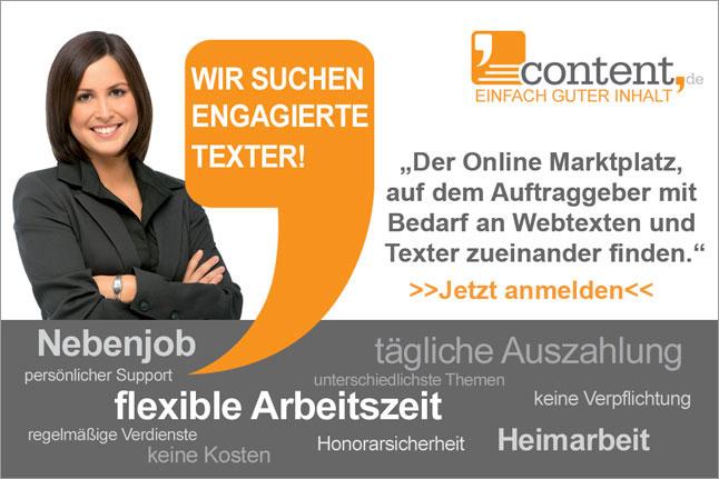 Texter für Texter Jobs gesucht!