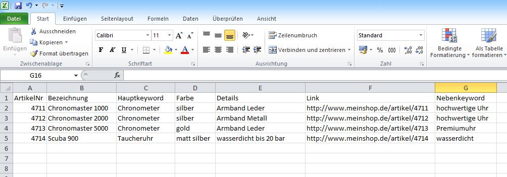 SEO-Texte in größeren Mengen per Excel-Upload beauftragen