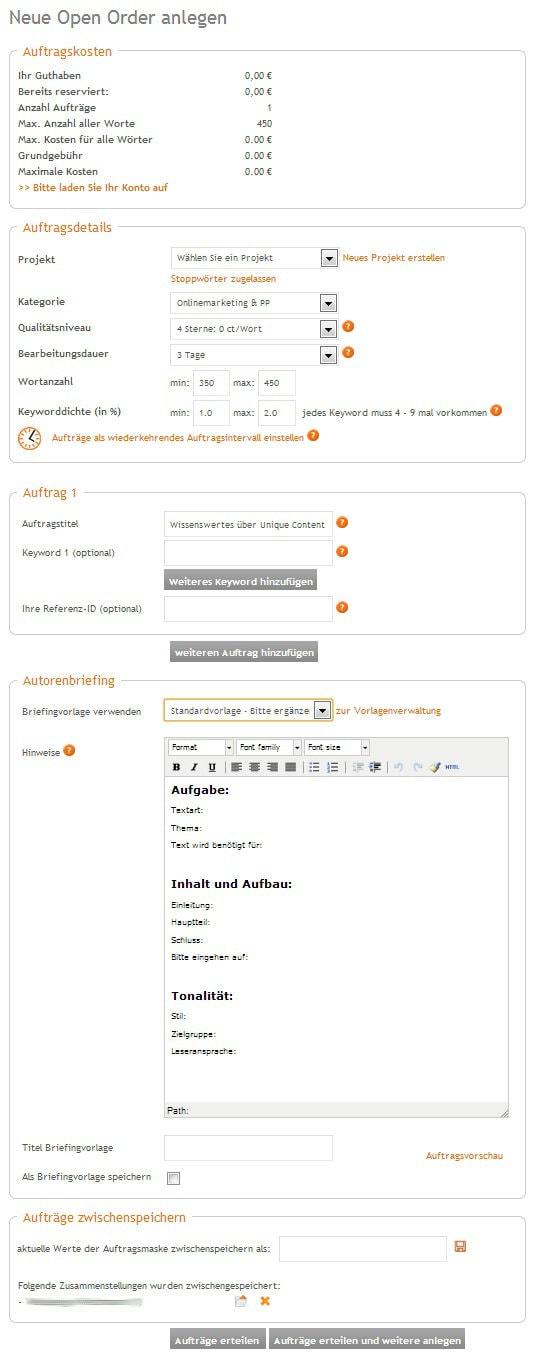Erstellung eines Textauftrages bei content.de