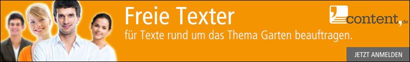 Jetzt bei content.de anmelden und Texter für Themen rund um den Garten beauftragen.