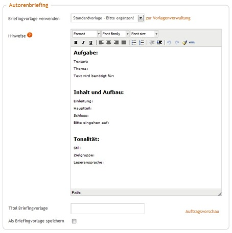 Autorenbriefing im content.de System