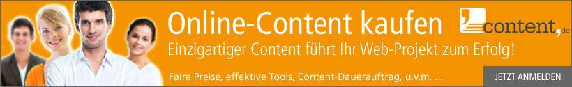 Lassen Sie sich Ihren Online Content über content.de erstellen.