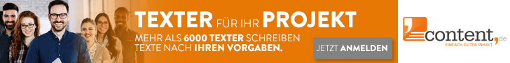 content.de Banner, Orange, Menschen am Banner, Freelancer finden, Freelancer Jobs, Freelancer Plattformen, Freelancer werden