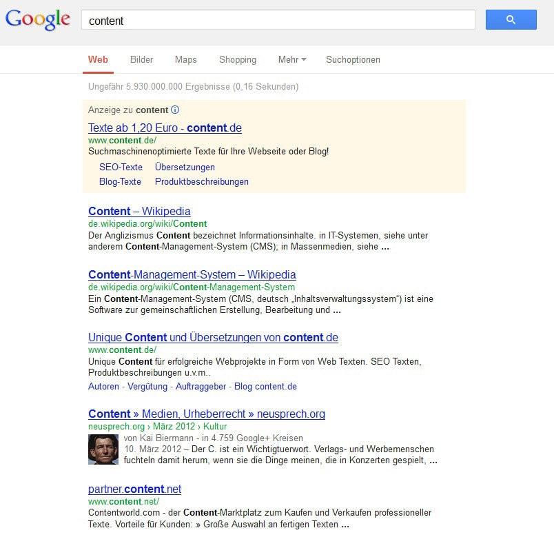 Screenshot einer SERP (Suchbegriff 'Content')