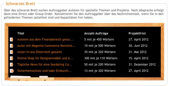 Das Schwarze Brett offeriert Texter Jobs auf content.de