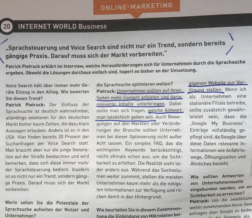 Voice Search, Thema in der Internet World Business Ausgabe 18 vom 11. September 2017