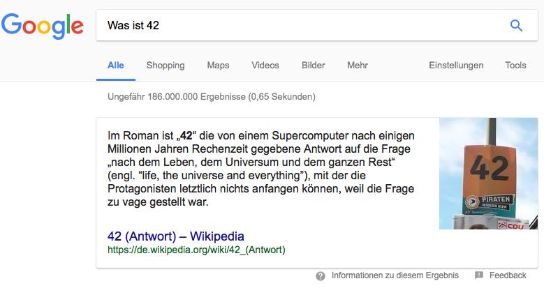 Beispiel der Darstellung einer direct answer in denn SERPs von Google